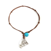 Fine Pearls and Leather Jewelry by Designer Wendy Mignot Concepcion Silver Shipwreck Coin, Turquoise Necklace