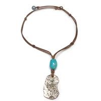 Fine Pearls and Leather Jewelry by Designer Wendy Mignot Concepcion Silver Shipwreck Coin, Turquoise Saba Necklace