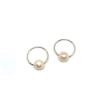 Cannes Blanc Pearl Endless Hoop Earrings, White