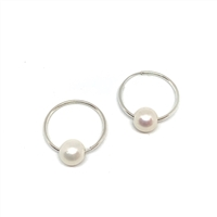 Marseille Blanc Pearl Endless Hoop Earrings White