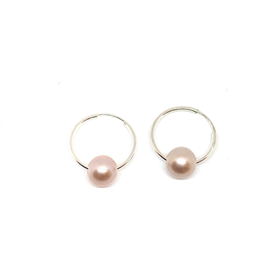 Cannes Rose Pearl Endless Hoop Earrings, Pink/Blush by Designer Wendy Mignot