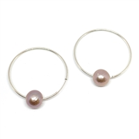 Monaco Freshwater Pearl Endless Hoop Earrings Pink/Blush by Designer Wendy Mignot