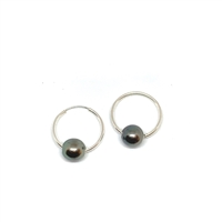 Cannes Noir Tahitian Pearl Endless Hoop Earrings by Designer Wendy Mignot