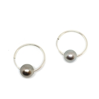 Marseille Noir Tahitian Pearl Endless Hoop Earrings 
