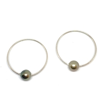 Monaco Noir Tahitian Pearl Endless Hoop Earrings Noir by Designer Wendy Mignot