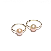 Naples Pearl Endless Hoop Earrings Gold-Filled, White by Designer Wendy Mignot