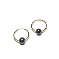 Naples Tahitian Pearl Endless Hoop Earrings Gold-Filled, by Designer Wendy Mignot