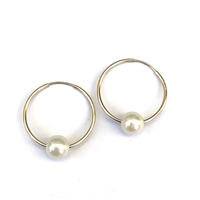 Venice Pearl Endless Hoop Gold-Filled Earrings, White by Designer Wendy Mignot
