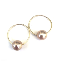 Venice Pearl Endless Hoop Gold-Filled Earrings, Blush by Designer Wendy Mignot