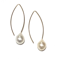 Liv V Wire Pearl Drop Earring 14k Gold-Filled-White