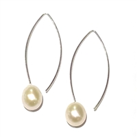 Liv V Wire Pearl Drop Earring Silver-White