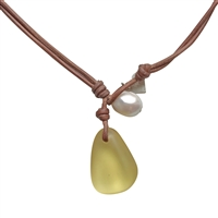 Fine Pearls and Leather Jewelry by Designer Wendy Mignot | Coastline Anagada Zara Yellow Sea Glass Necklace