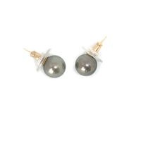 Fine Pearls and Leather Jewelry by Designer Wendy Mignot Chloe Tahitian Pearl Stud Earrings