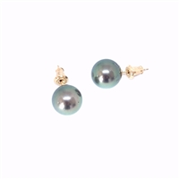 Fine Pearls and Leather Jewelry by Designer Wendy Mignot Mareva Tahitian Pearl Stud Earrings