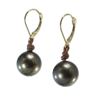 Fine Pearls and Leather Jewelry by Designer Wendy Mignot Bora Bora Single Tahitian Earrings