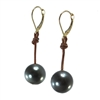 Fine Pearls and Leather Jewelry by Designer Wendy Mignot Bora Bora Single Tahitian Earrings I