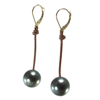 Fine Pearls and Leather Jewelry by Designer Wendy Mignot Bora Bora Single Tahitian Earrings II
