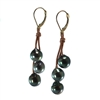 Fine Pearls and Leather Jewelry by Designer Wendy Mignot Bora Bora Three Drop Tahitian Earrings
