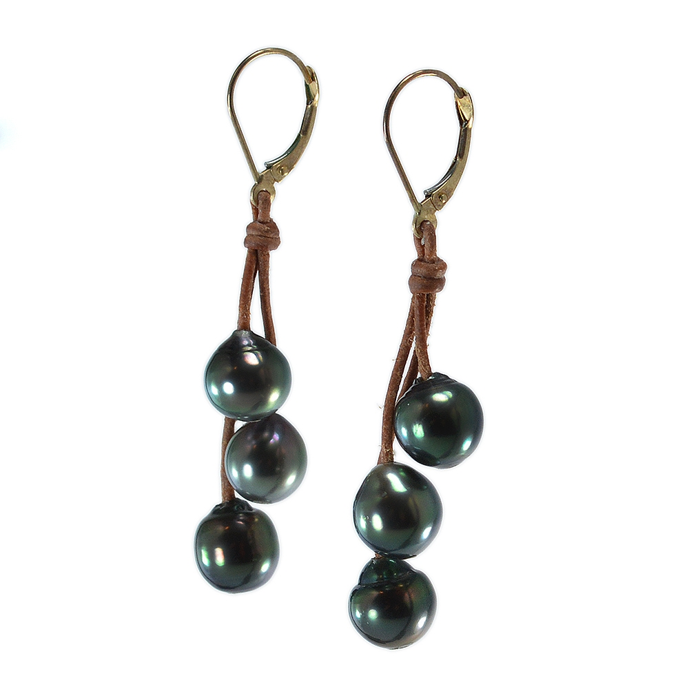 Wendy Mignot Bora Bora Three Drop Tahitian Earrings