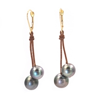 Fine Pearls and Leather Jewelry by Designer Wendy Mignot Cherries Black Tahitian Earrings