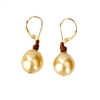 Fine Pearls and Leather Jewelry by Designer Wendy Mignot South Sea Gold Single Earrings