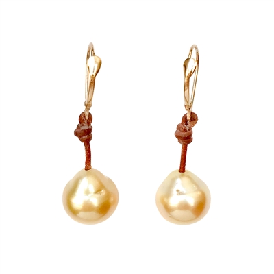 Fine Pearls and Leather Jewelry by Designer Wendy Mignot South Sea Gold Single Earrings I