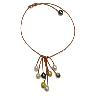 Fine Pearls and Leather Jewelry by Designer Wendy Mignot Parasol Eight South Sea and Tahitian Necklace