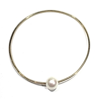 Mahalo Freshwater Pearl 14k Gold Filled Bangle White By Wendy Mignot
