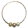 Mahalo Three Freshwater Pearl 14k Gold Filled Bangle Blush
