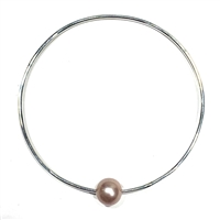 Mahalo Freshwater Pearl Silver Bangle Blush