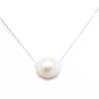 Aloha Single Freshwater Pearl Silver Necklace White