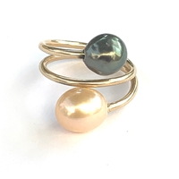 Ohana Tahitian and Freshwater Pearl Double Wrap 14k Gold Filled Ring