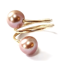 Ohana Freshwater Pearl Single Wrap 14k Gold Filled Ring Blush by Wendy Mignot