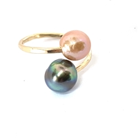 Ohana Tahitian and Freshwater Pearl Single Wrap 14k Gold Filled Ring