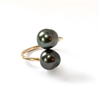Ohana Tahitian Pearl 14k Gold Filled Double Wrap Ring by Wendy Mignot