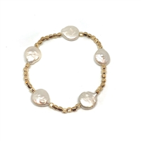 Fine Pearls and Leather Jewelry by Designer Wendy Mignot Plaza Coin Pearl Bracelet