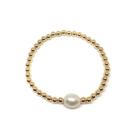 Fine Pearls and Leather Jewelry by Designer Wendy Mignot Miami Gold Uno Pearl Bracelet