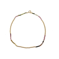 Fine Pearls and Leather Jewelry by Designer Wendy Mignot Reunion Troumaline Anklet