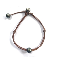 Fine Pearls and Leather Jewelry by Designer Wendy Mignot Santorini Tahitian Pearl Anklet