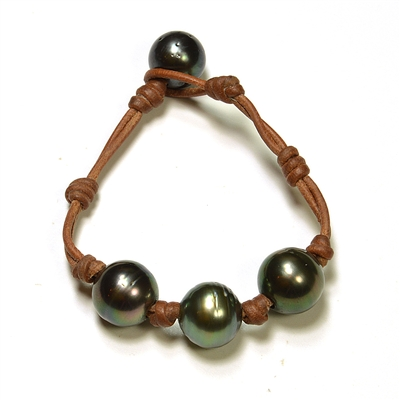 Fine Pearls and Leather Jewelry by Designer Wendy Mignot Bora Bora Three Pearl Tahitian Bracelet
