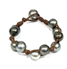 Fine Pearls and Leather Jewelry by Designer Wendy Mignot Toboga Tahitian Bracelet