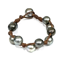 Fine Pearls and Leather Jewelry by Designer Wendy Mignot Little Toboga Tahitian Bracelet