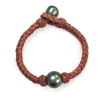 Fine Pearls and Leather Jewelry by Designer Wendy Mignot Single Braid Tahitian Bracelet