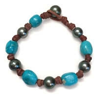 Fine Pearls and Leather Jewelry by Designer Wendy MignotAll Around Tahitian, Turquoise Bracelet LTD