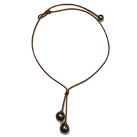 Fine Pearls and Leather Jewelry by Designer Wendy Mignot Rain Two Drop Tahitian Necklace