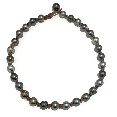 Fine Pearls and Leather Jewelry by Designer Wendy Mignot | All Around the World Tahitian Necklace