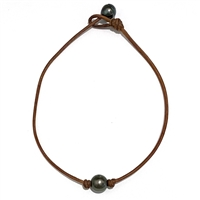 Fine Pearls and Leather Jewelry by Designer Wendy Mignot Bebe Single Tahitian Necklace