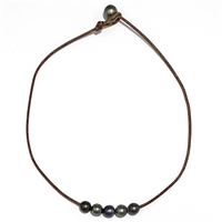 Fine Pearls and Leather Jewelry by Designer Wendy Mignot | Breezy Tahitian Necklace
