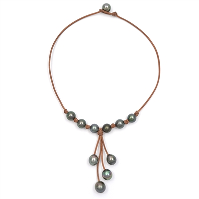 Fine Pearls and Leather Jewelry by Designer Wendy Mignot Maiko Tahitian Necklace
