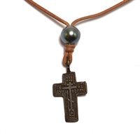 Fine Pearls and Leather Jewelry by Designer Wendy Mignot Russian Cross Tahitian Necklace